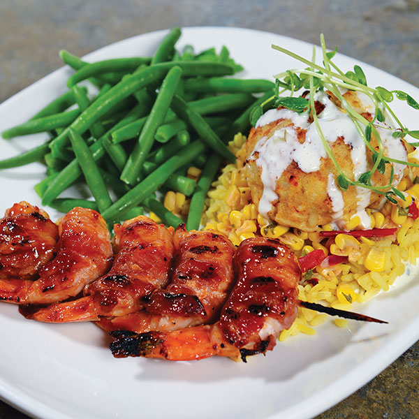 Grilled BBQ Shrimp and Crab Cake